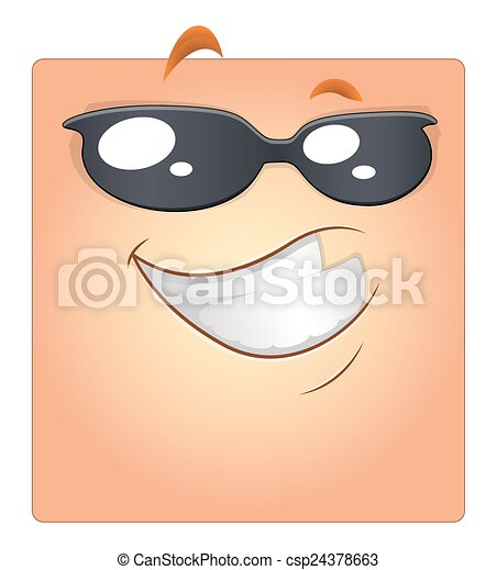 Happy Smiley with Sunglasses Vector - csp24378663