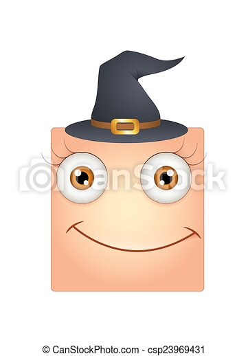 Halloween Cartoon Witch Face.Happy Smiley With Witch Hat