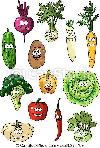 Happy smiling fresh garden vegetables - csp26974789