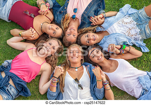 happy smiling group of diverse girls - csp25147622