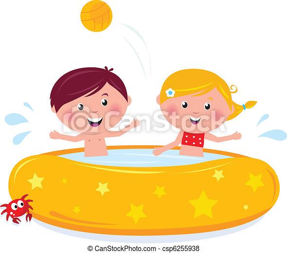 Happy smiling kids in swimming pool, summer illustration cartoon vector.  - csp6255938