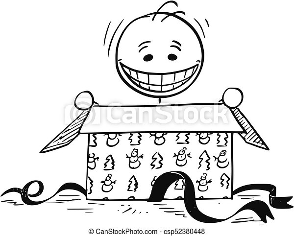 Christmas Gift Box Drawing.Happy Smiling Man Looking In To Open Christmas Gift Box
