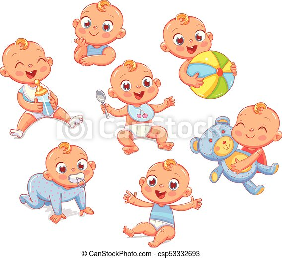 Happy smiling newborn boy in different situations - csp53332693