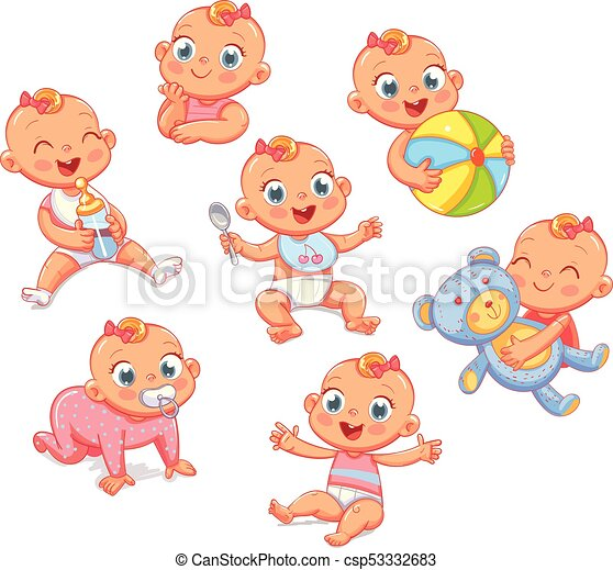Happy smiling newborn girl in different situations. Set - csp53332683