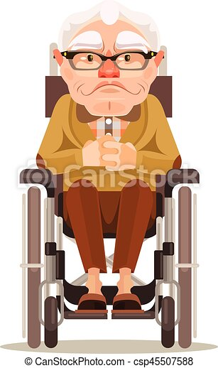 happy smiling old man character sitting in wheelchair. vector flat
