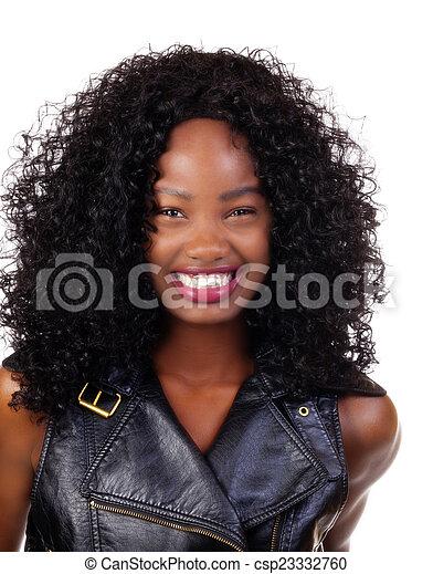 Happy Smiling Portrait Young Attractive Black - csp23332760