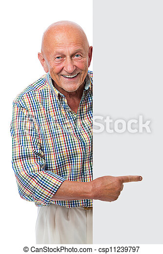 happy smiling senior man holds a blank board - csp11239797