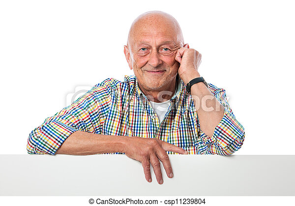 happy smiling senior man holds a blank board - csp11239804