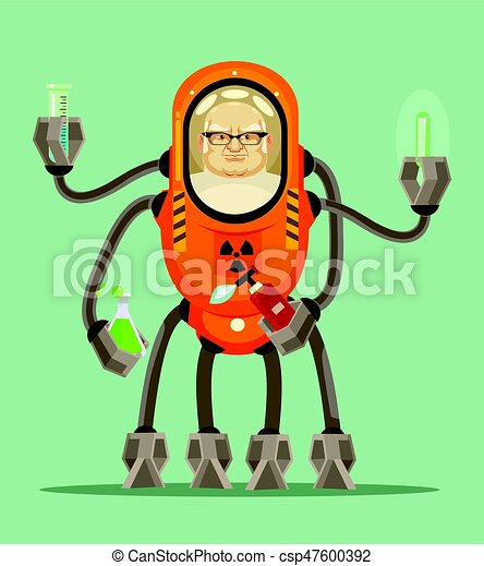 Happy smiling smart mad scientist man robot cyborg character holds flask with liquid in his iron hands. Vector flat cartoon illustration - csp47600392