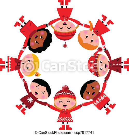 Happy smiling winter kids in circle. Vector cartoon Illustration. - csp7817741