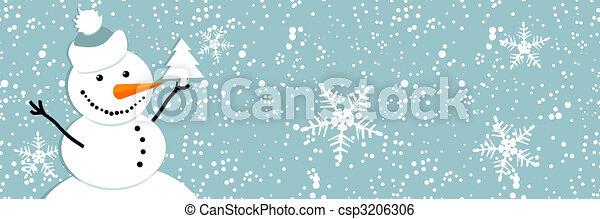 Happy snowman, christmas card - csp3206306
