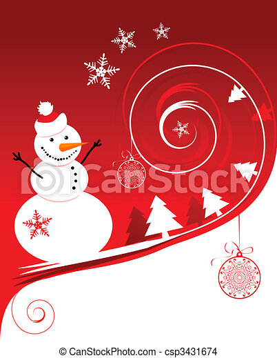 Happy snowman, christmas card - csp3431674