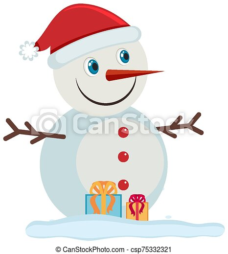 Happy snowman on white background - csp75332321