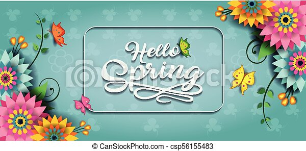 Happy spring butterfly banner e. Happy spring label with ...
