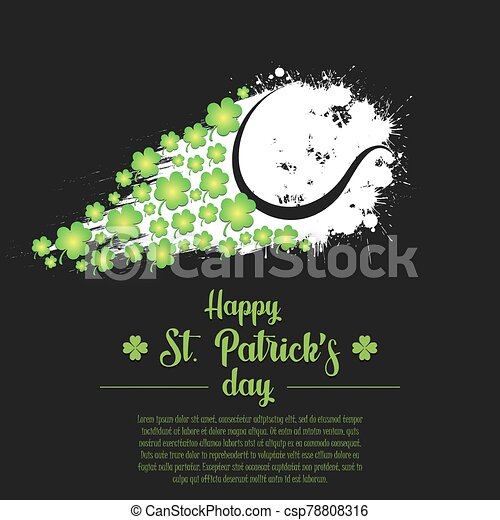 Happy St. Patrick's day and tennis ball - csp78808316