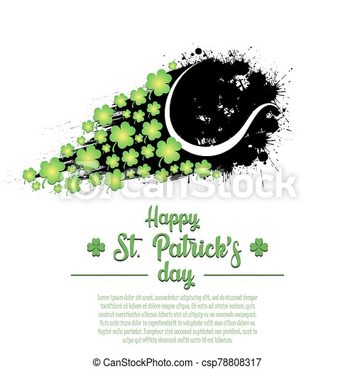 Happy St. Patrick's day and tennis ball - csp78808317