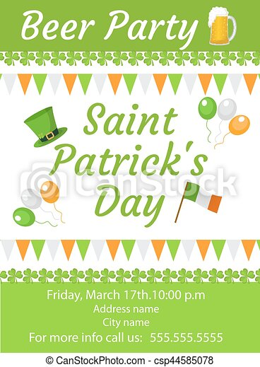 Happy St Patricks Day Invitation Poster Flyer Beer Party Template For Your Design Vector
