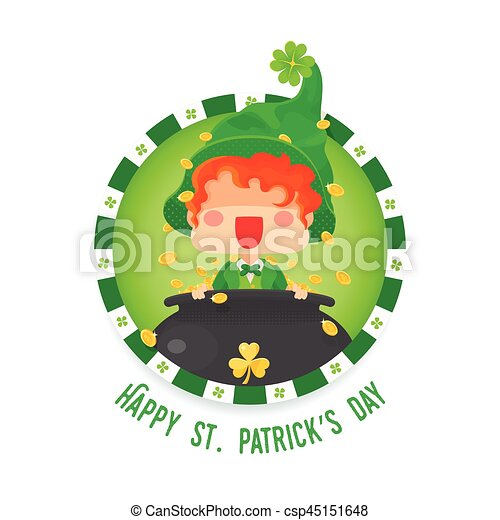 happy st patrick s day leprechaun with pot of gold vector