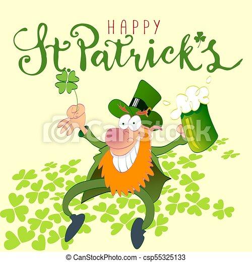 Happy st Patricks leprechaun - csp55325133