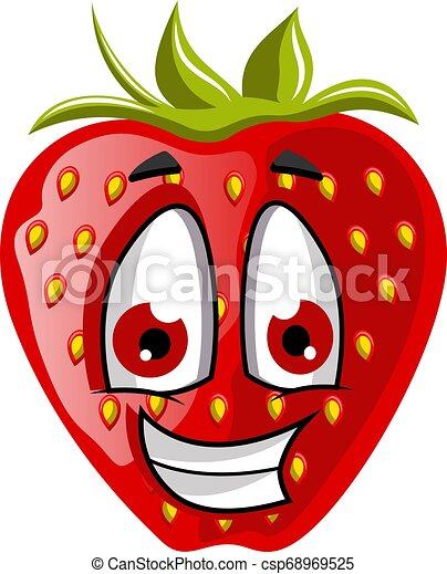 Happy strawberry face illustration vector on white background - csp68969525