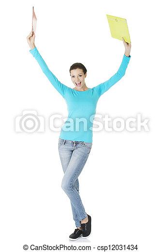 Happy student woman showing win gestur - csp12031434