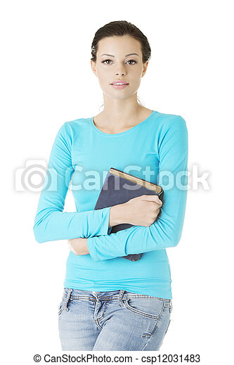 Happy student woman with book - csp12031483