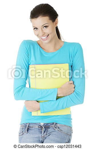 Happy student woman with notebooks - csp12031443