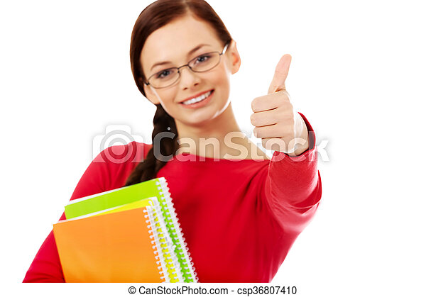 Happy student woman with thumb up - csp36807410