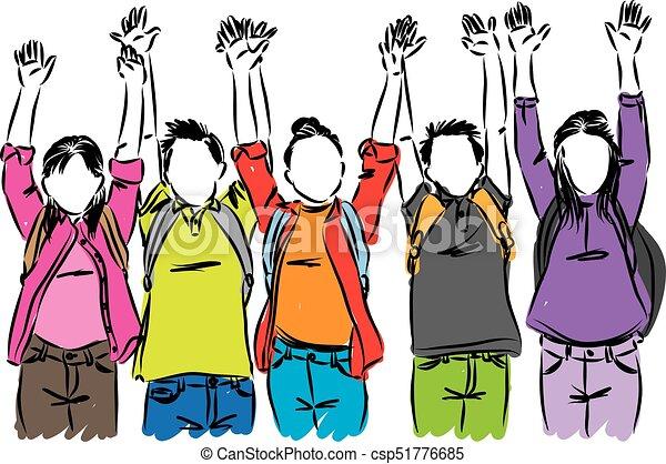 happy students raising hands vector illustration vector search rh canstockphoto com Happy Building Happy Emoji Colage