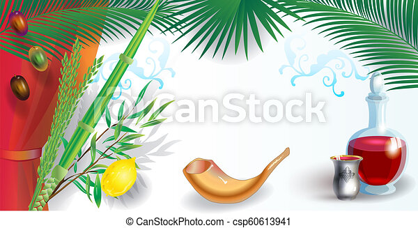 Happy sukkot festival greeting card with sukkah decoration shofar happy sukkot festival greeting card csp60613941 m4hsunfo