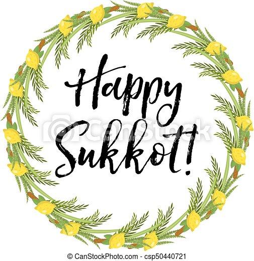 Happy sukkot round frame of herbs jewish holiday huts template for happy sukkot round frame of herbs jewish holiday huts template for greeting card with etrog lulav m4hsunfo
