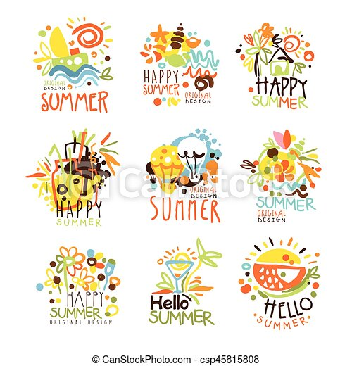 Happy Summer Vacation Sunny Colorful Graphic Design Template Logo Set Hand Drawn Vector Stencils Artistic Promo Posters With Funky Font And Fun