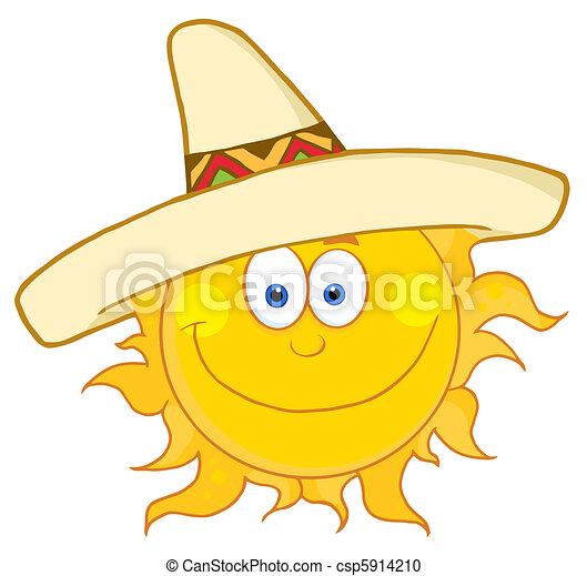 41aa0481749 Happy sun wearing a sombrero. Smiling sun with sombrero hat .