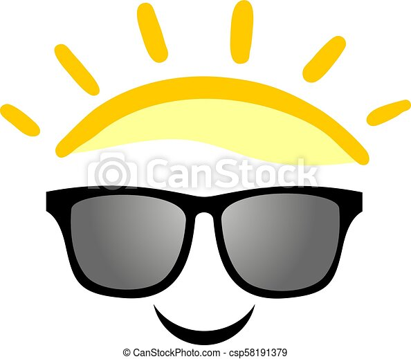 happy sunglasses face illustration - csp58191379