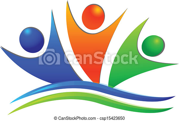 Happy swooshes teamwork people logo - csp15423650