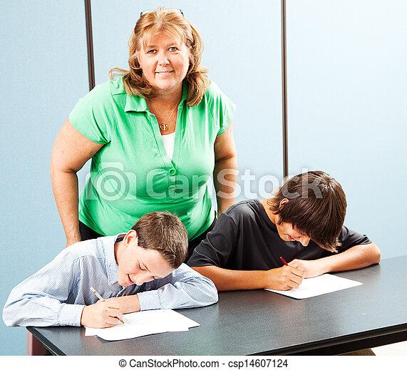 Happy Teacher with Students - csp14607124