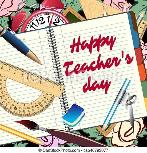 Happy teachers day greeting card vector illustration happy teachers day greeting card csp46793077 m4hsunfo