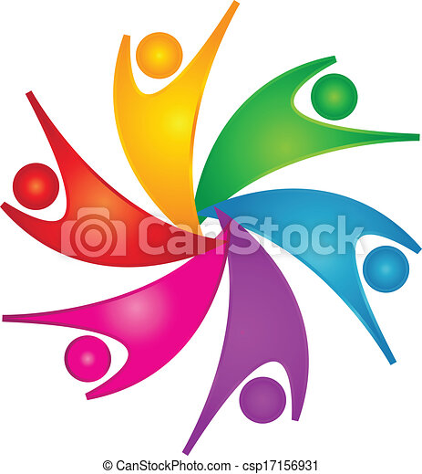 Happy teamwork people logo - csp17156931