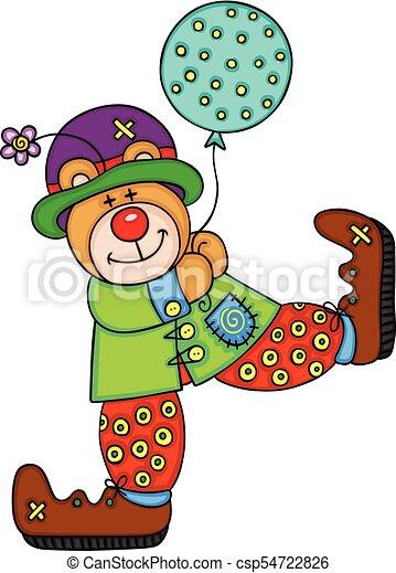 Happy teddy bear clown - csp54722826