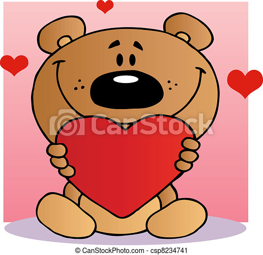 Happy Teddy Bear Holding A Heart - csp8234741