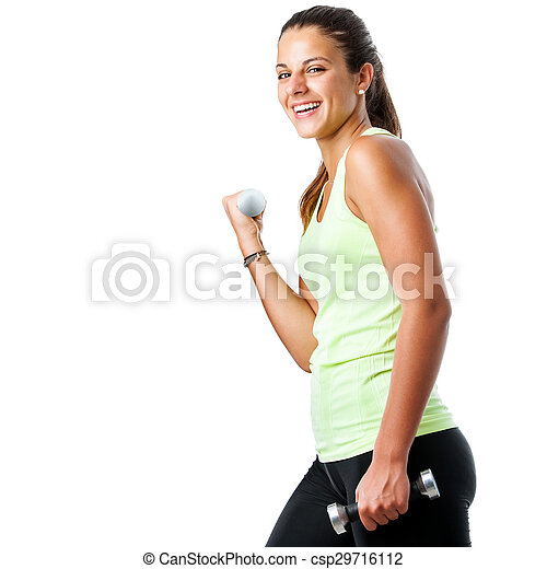Happy teen girl doing fitness workout. - csp29716112