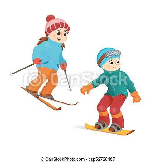 happy teen girl skiing and boy snowboarding. happy girl vector