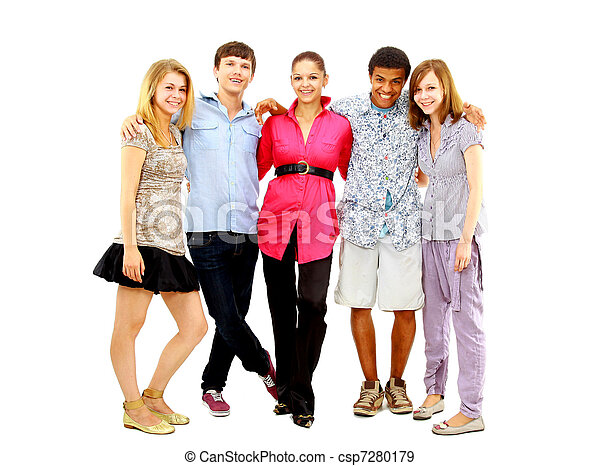 Happy teen young boys and girls standing together against white background  - csp7280179