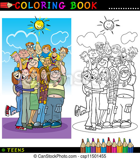 Happy Teenagers group for coloring - csp11501455