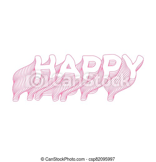 Happy text icon pink word isolated illustration - csp82095997