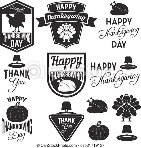 Happy Thanks Giving Dayeps Set Of Thanksgiving Clip Art Vector