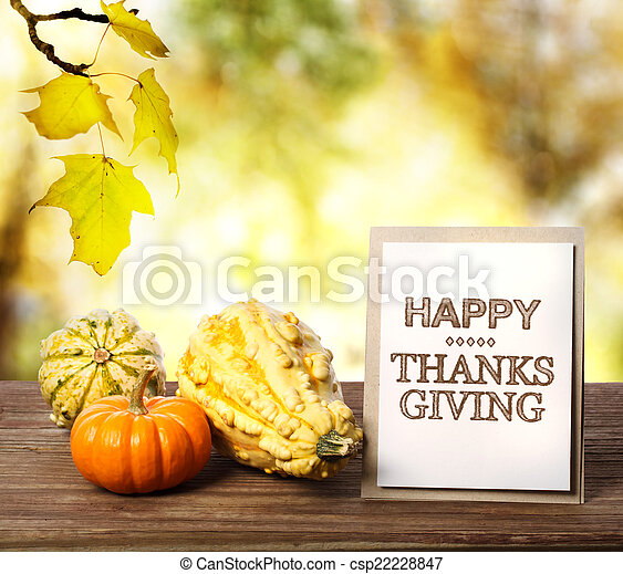 Happy Thanksgiving card with pumpkins - csp22228847