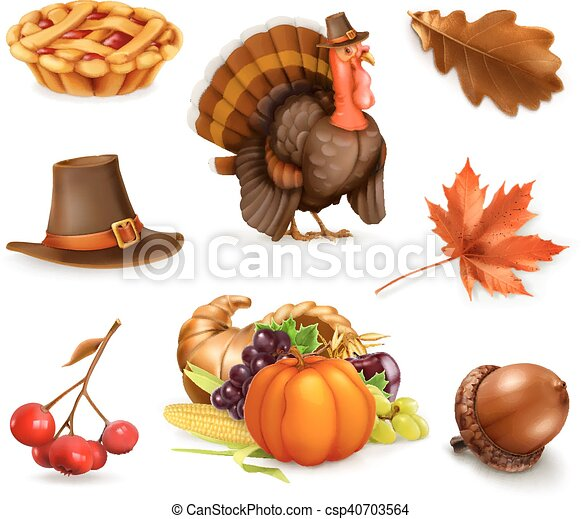 Happy Thanksgiving cartoon character and objects. 3d vector icon set - csp40703564