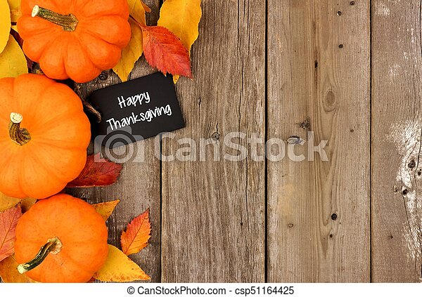 Happy Thanksgiving Chalkboard Tag With Autumn Side Border Over Wood