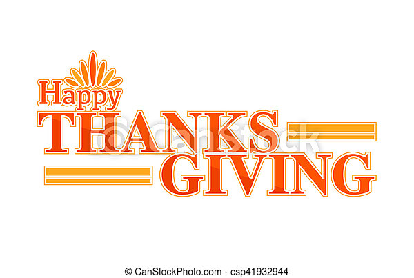 Happy thanksgiving color text sign - csp41932944
